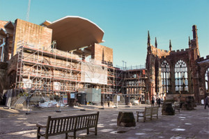 Layher Allround scaffolding system around the Coventry Cathedral ruins.