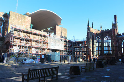 Scaffolding hire on St. Michael's Cathedral in Coventry