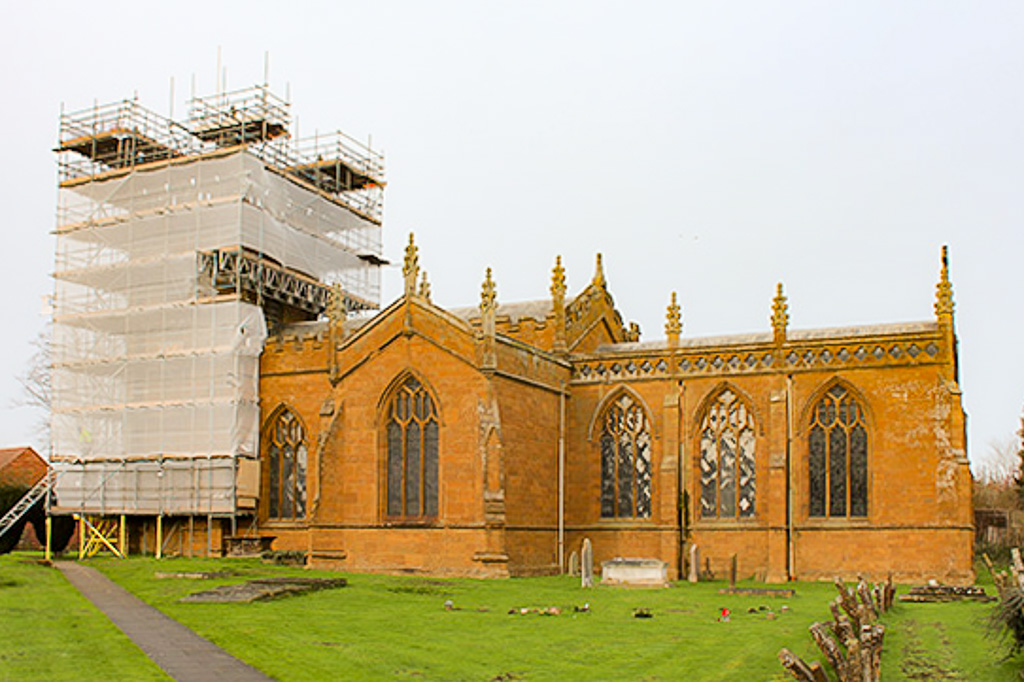 Scaffolding for Kineton Church restoration, we also serve Banbury