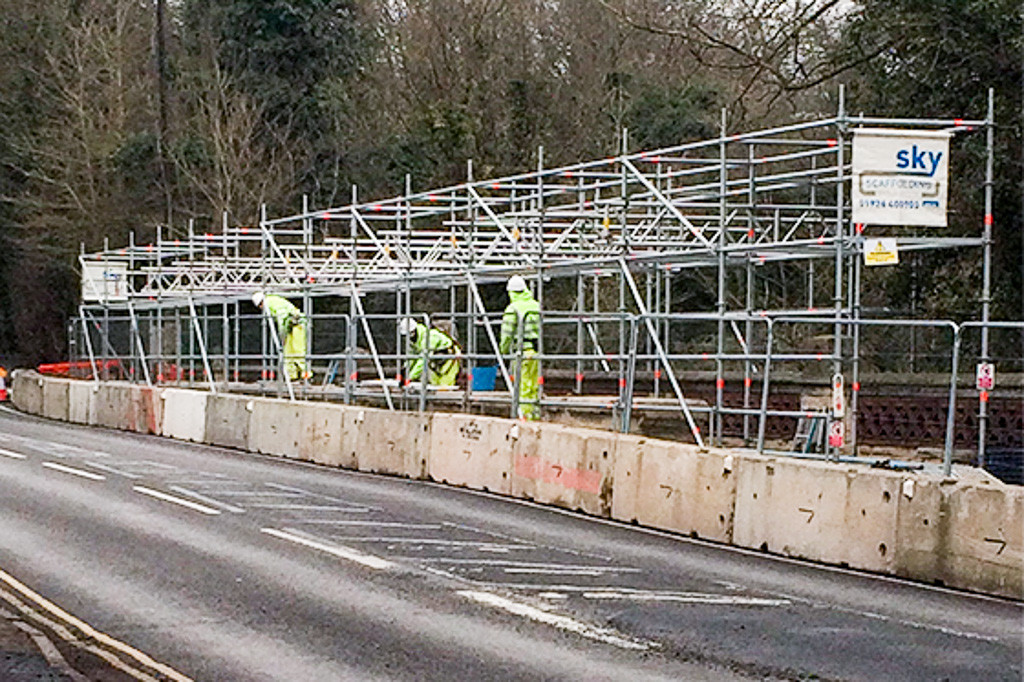 Scaffolding on Willes Road Bridge, Leamington, showing traffic barriers.
