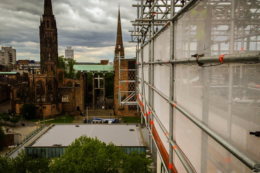 Commercial scaffolding on Coventry University