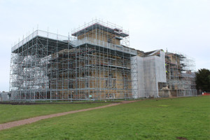 Layher system scaffolding around Croome Court in Worcestershire.
