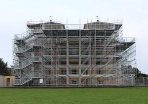 Croome Court birdcage scaffolding.