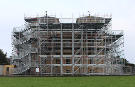 Croome Court birdcage scaffolding.