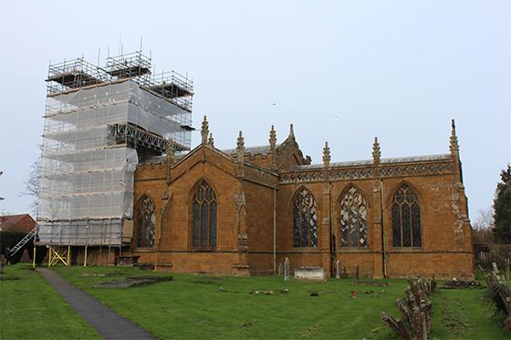 Fully sheeted scaffolding on Pitmaston House in Birmingham