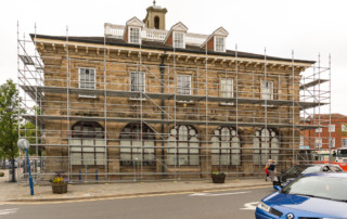 Layher system scaffold on the Warwick Museum