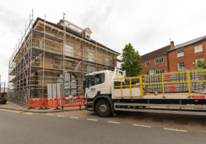Sky Scaffolding lorry with mounted fall protection system.