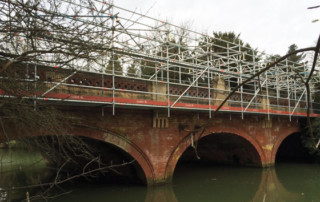 Suspended Layher system scaffold on Willes bridge in Leamington