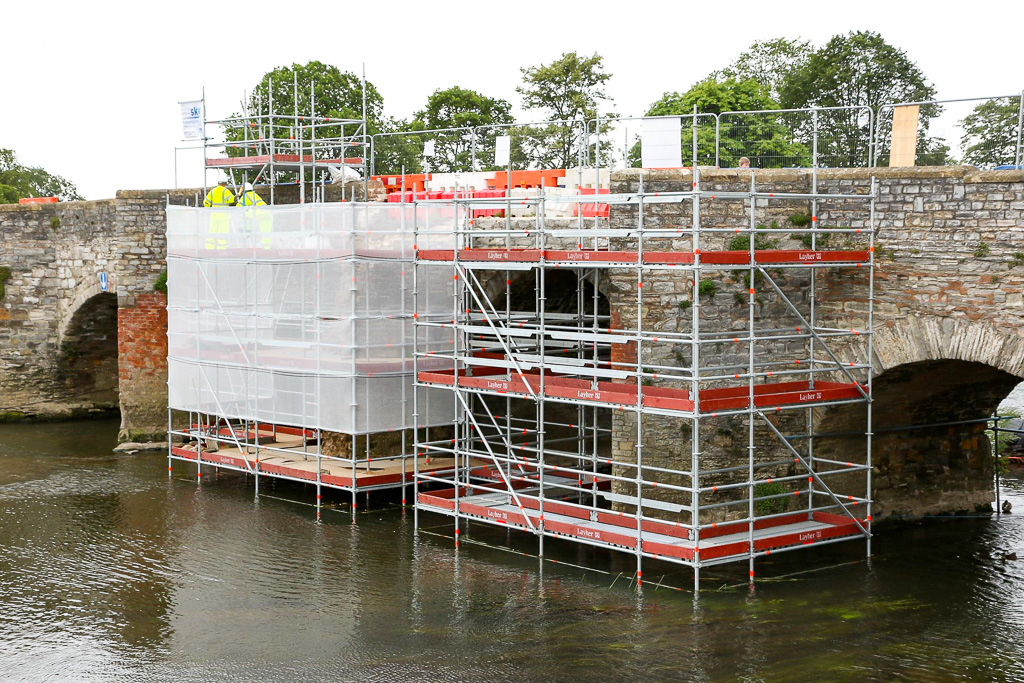 Industrial scaffolding around Bidford Bridge