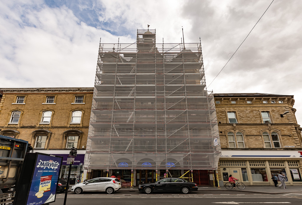 Independent scaffold on San Carlos Restaurant in Leicester.