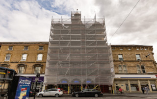 Layher independent scaffolding in Leicester.