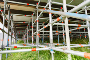 Support scaffolding to the underside of the temporary accommodation units.
