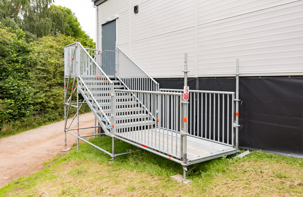 Layher staircase system suitable for use at public events.