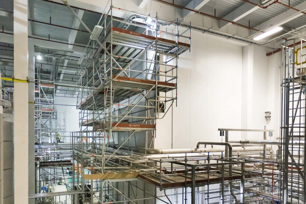 Industrial scaffolding in food and drink factory