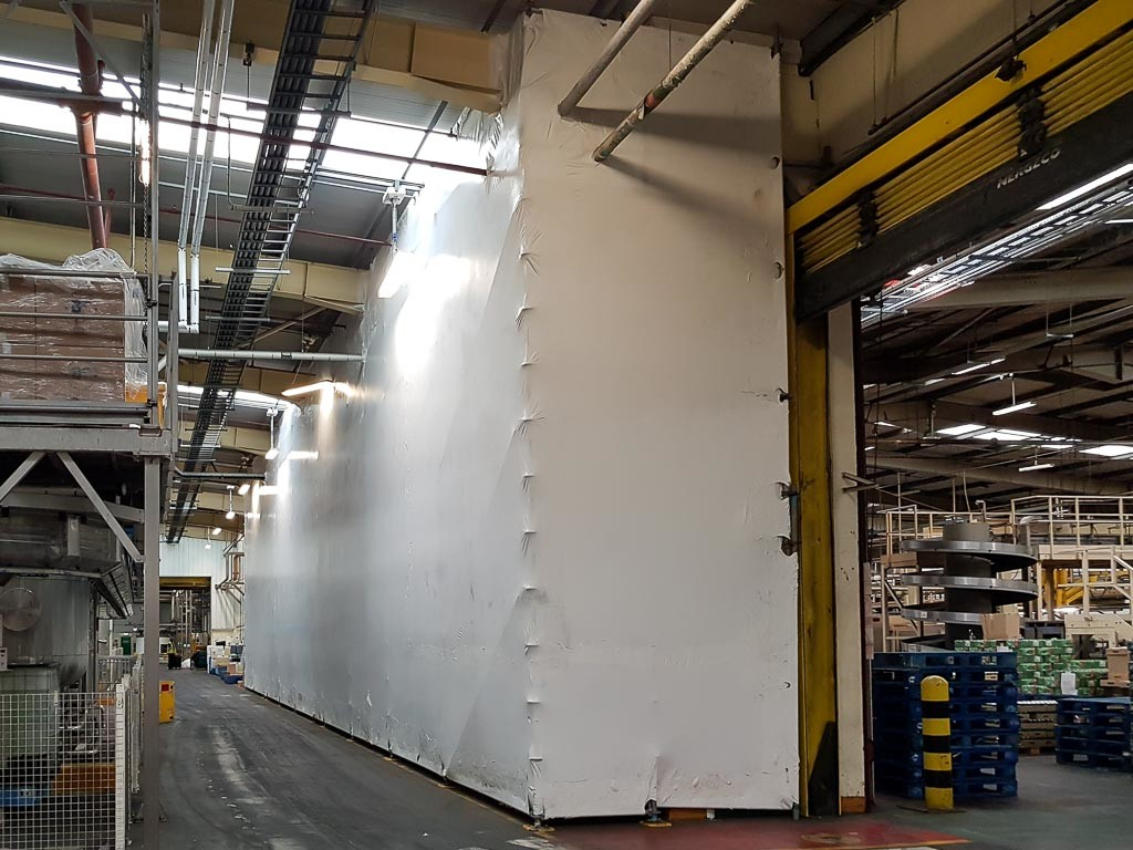 Industrial screening for demolition inside food and drink factory