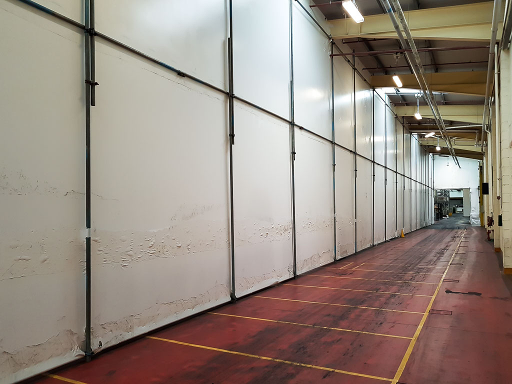 Shrink wrap screening for dust containment