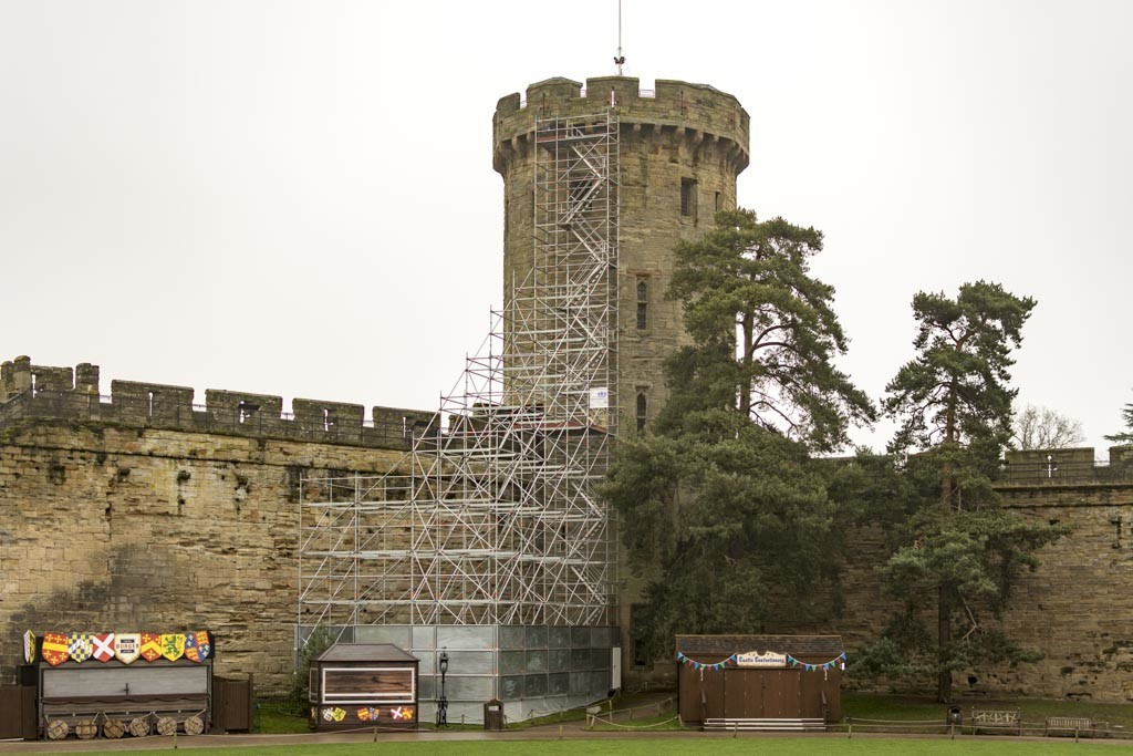 Scaffolding tower up Guy's Tower at Warwick Castle.