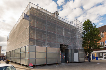 Commercial scaffolding around Market Hall Museum in Warwick Town Centre