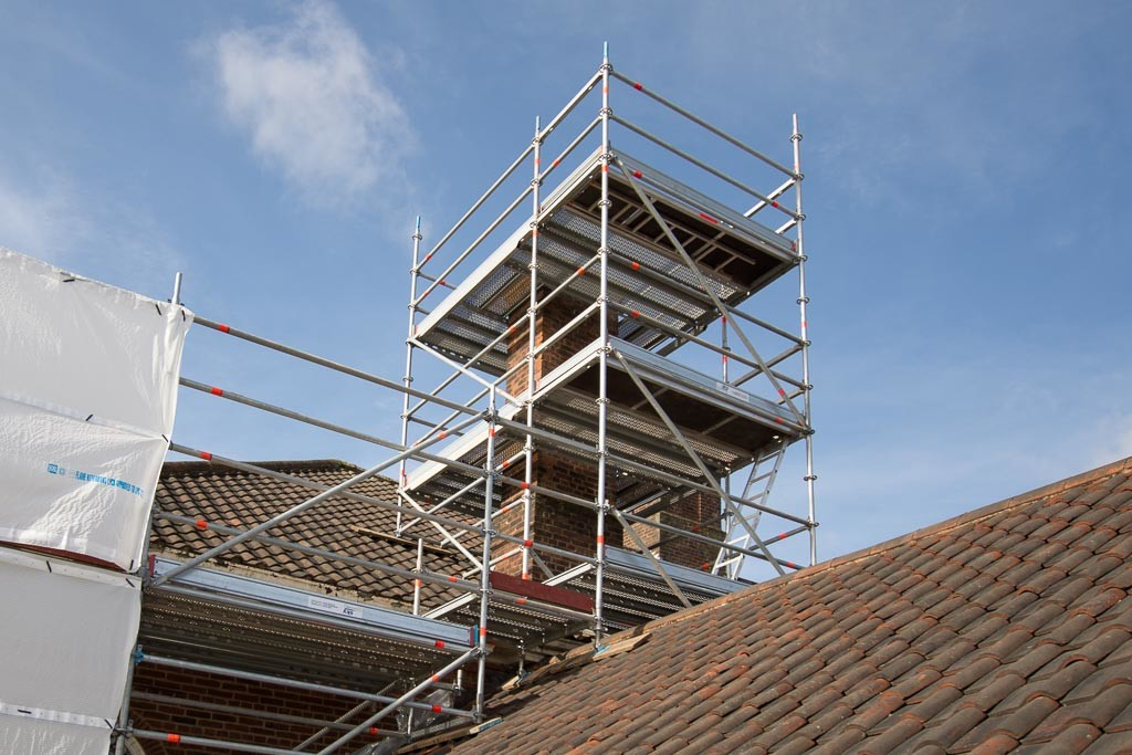 Chimney scaffold erected using Layher Allround.