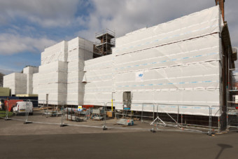 Fully sheeted scaffolding on Pitmaston House in Birmingham