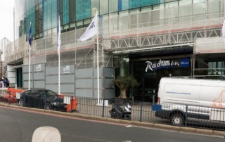 Scaffolding on Radisson Blu Hotel in Birmingham