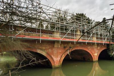 Industrial scaffolding on Wiles Road Bridge in Leamington Spa